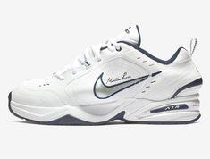 best sneakers f609e dc50c Nike x Martine Rose Air Monarch IV Blanc Bleu nuit marine Noir Argent  métallique