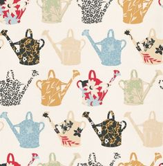 Kitchen Concepts 2 (CU25966) - Galerie Wallpapers - A country fresh kitchen wallcovering with watering cans filled with pretty floral designs, on a good quality vinyl. Showing in multi colours on white. Please request a sample for true colour match.