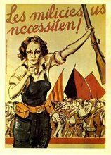 Recruiting poster for the Anti-Fascist/Anarchist Militias of the Spanish civil war Revolution Poster, Spanish War, Spanish Posters, Civil War Art, Propaganda Art, Political Posters, Protest Posters, Poster S, Dieselpunk