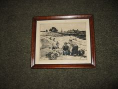 "HOBART NICHOLS EMBOSSED Etching ""Harvest"" In Original Dark Wood Frame 11 1/2"" x 13 1/2"" Hand Signed In Pencil by framedvintageart on Etsy"