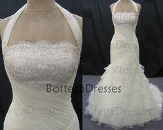 2014 Wedding Dresses, Mermaid Bridal Gown, Mermaid Halter Court Train Organza with Lace Ivory Wedding Dresses, Mermaid Wedding Gown