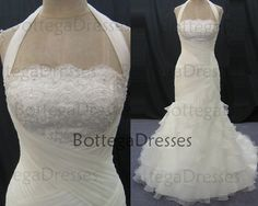 2014 Wedding Dresses, Mermaid Bridal Gown, Mermaid Halter Court Train Organza with Lace Ivory Wedding Dresses, Mermaid Wedding Gown