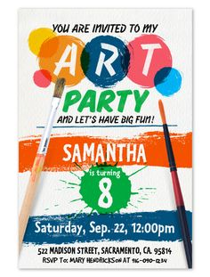 You are invited to my Art Party and let's have big fun!. Party invitation for instant download at #etsy shop 'Ideas2Print' #partyprintables #artpartyideas #instantdownload #freelance #illustrator #design #etsyshop #ideasforparties #art #etsysellers #kidsparty #splatter #splatterpaint #digitalart #digital #artpartyideas #hugoherrera