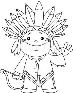 Stock vector of 'Outlined Indian kid. Coloring page.'