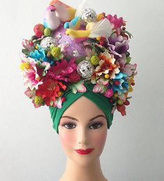 Flora Fauna Bird Fruit Headdress Showgirl Costume Cabaret in Clothing, Shoes & Accessories, Dancewear, Adult Dancewear Costume Cabaret, Carnaval Costume, Showgirl Costume, Carmen Miranda, Kitsch, Karneval Diy, Crazy Hats, Fancy Hats, Halloween Disfraces
