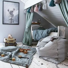 Perfect Hide-Aways for Kids' Rooms - beds under sloping ceiling in attic, cool loftbeds, architect's hide-ins for kids, canopy, teepee. Kids Canopy, Canopy Beds, Window Canopy, Beach Canopy, Backyard Canopy, Garden Canopy, Fabric Canopy, Canopy Outdoor, Deco Kids
