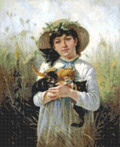 """""""Country Girl And Her Kittens"""" -- Charles Burton Barber (1845 – 1894, English)"""