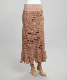 Look at this Taupe Crochet Maxi Skirt on #zulily today!