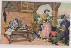Mainzer cats Mail delivery for kitten. by sharonfostervintage