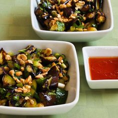 Spicy Grilled Eggplant and Zucchini Salad with Thai Flavors Recipe with asian eggplants, zucchini, peanut oil, salt, green onions, chopped cilantro, peanuts, fresh lime juice, fish sauce, Sriracha, sugar, peanut oil