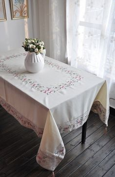 Handmade Hemstitched Embroidered Tablecloth.