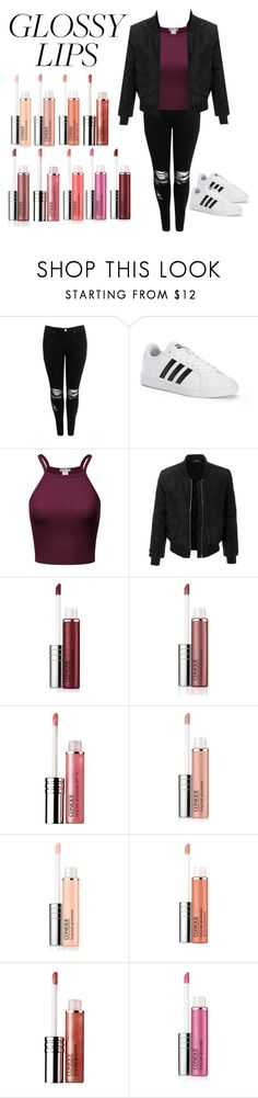"""glossy lips"" by nazia-shazia ❤ liked on Polyvore featuring beauty, Boohoo, adidas, LE3NO and Clinique"