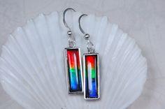 Ammolite Jewelry Earrings.18x5mm Grade AA 4 Colour Beauties. - Ammolite Jewelry From Canada