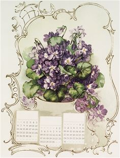 French Violets Calendar Image free from Graphics Fairy.