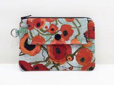 Poppy Flower Zipper Pouch Mini Wallet Small Gadget by ZestyNotion