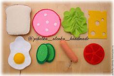 Еда ручной работы. Ярмарка Мастеров - ручная работа. Купить Набор для завтрака из фетра. Handmade. Разноцветный, игрушки из фетра, салат
