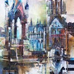 Rob wilson - 'monument, albert square' живопись в 2019 г. Building Painting, Building Drawing, Building Art, Urban Landscape, Abstract Landscape, John Piper Artist, Buildings Artwork, Art Courses, A Level Art