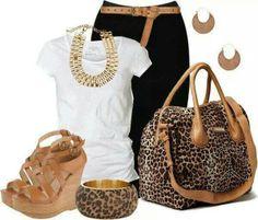 Black white and brown leopard style casual summery Look Fashion, Autumn Fashion, Fashion Outfits, Womens Fashion, Latest Fashion, Diva Fashion, Fashion 101, Curvy Fashion, Spring Fashion