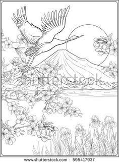 Japanese Landscape with Mount Fuji and tradition flowers and a bird Outline drawing coloring page Coloring book for adult Vector stock illustration Stock Vector Colourbox on Colourbox is part of Landscape pencil drawings - Japanese Drawings, Japanese Art, Japanese Painting, Outline Drawings, Pencil Drawings, Tattoo Drawings, Bird Outline, Mont Fuji, Japanese Landscape