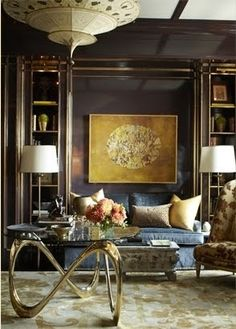 A Lovely Library. Interior Designer: Garrow Kedigian. Velvet blue sofa.