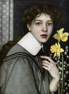 Oskar Zwintscher- Bildnis mit gelben Narzissen, 1907