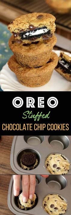 Oreo Stuffed Chocolate Chip Cookies – The BEST soft and chewy big chocolate chip cookies stuffed with Oreos! Quick and easy recipe that's so fun to make! All you need is your favorite chocolate chip cookie dough and Oreos! So simple and so delicious! Brownie Desserts, Easy Desserts, Delicious Desserts, Yummy Food, Desserts With Oreos, Tasty, Beste Desserts, Simple Dessert Recipes, Dessert Simple