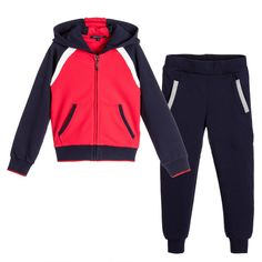Aston Martin - Boys Navy Blue & Red Logo Tracksuit | Childrensalon