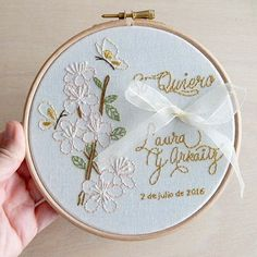 Wedding Embroidery Hoop Ring bearer Porta alianzas bastidor bordado a mano www.arorua.es