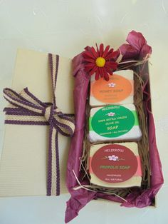 Gift Set of 3 Soaps with Greek Extra Virgin Olive Oil ,Honey,Propolis. All Natural Organic Ingredients. Natural Products, Pure Products, Honey Soap, Olive Oil Soap, Gourmet Gifts, Organic Herbs, Gift Sets, Handmade Soaps, Baskets