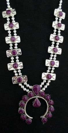 Navajo Silver and Sugilite Squash Blossom Necklace SIGNED B. Double Strand *958 by margarita
