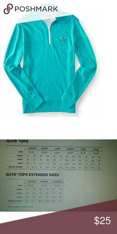 "Aeropostale prince&fox men's pullover Turquoise L The Prince & Fox Logo Quarter Zip Pullover Top keeps your preppy style on point without sacrificing comfort. Brushed jersey fabric supplies touchable softness, while a zippered mock neck collar and embroidered chest logo lend classic appeal.  Authentic fit. Approx. length (M): xx"" Style: 9757. Imported.  100% cotton. Machine wash/dry.*For clothing Aeropostale Shirts Polos"