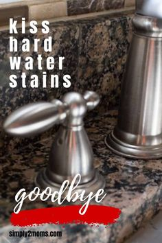 Want to remove those stubborn hard water stains from your granite counter tops? Our simple tutorial gets the job done without using any harsh chemicals. #simply2moms #granite #hardwaterstains #cleaningtips #hardwater #mineraldeposits #granite Remove Water Stains, Hard Water Stains, Granite Shower, Granite Counters, How To Clean Granite, Affordable Storage, Best Cleaner, Shower Cleaner, White Stain