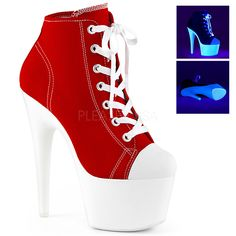7 High Heel, 2 34 Platform Lace Up Front Canvas Sneaker Shoes. Blacklight Reactive Glow Platform Bottom, Outsole And Toplift Full Inside Zipper Closure.Styles: Red And White Rave Dancer Exotic Stripper Festival Drag Crossdress Dragqueen Stilettos Extended Platform Ankle Boots, Platform High Heels, Platform Sneakers, Red Platform, Belt Thigh High Boots, Canvas Sneakers, Men's Sneakers, Models, Womens High Heels