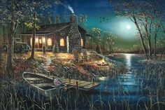 Minnesota Wildlife Artist - Jim Hansel's painting called ~ After Dark. This really reminds me of cabin life 'up north'.
