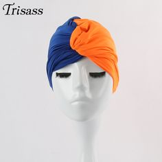 Colorful Swimming Cap Contrast Color Pleat Hat Knot funny Caps Swimming Pool One Size Wrapped Head Cloth Swimwear Women Girls