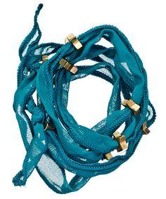 Blu Bijoux Teal Star Studded Wrap Bracelet