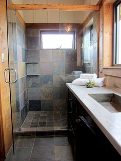 Slate bathroom  - use natural slate from Bellstone to get this look!