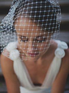 "Model Nr.1: Birdcage Veil    A Birdcage Veil is a 12"" Bridal Face Veil that exudes playfulness and a taste for sophistication and fine vintage fash..."