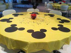 Cute Mickey Mouse themed kids birthday table decor