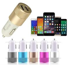 Metal Alloy Shell Universal 2.1A Dual USB 2 Port Car Charger. Metal Alloy Shell Universal 2.1A Dual USB 2 Port Car Charger is compatible with many devices. Product Features:  Charge two mobile devices at once. Universal USB port works with most USB cables. Short Charging time. Compatible with iPhone 6, iPhone 5, iPad mini, iPad, iPod touch, iPod nano, and many Digital cameras. Simple, small and elegant design. Environmental ABS material, super-compact form factor. Size: 3.9in x 0.8in x…