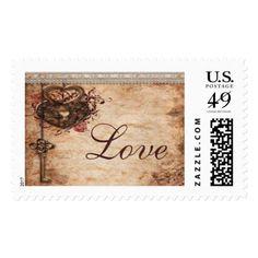 Vintage Hearts Lock and Key Love Wedding Postage