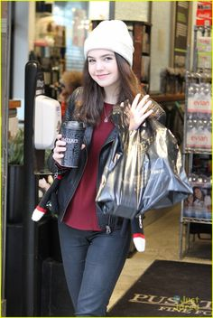 Bailee Madison wraps herself up in warm winter accessories while out in Toronto, Canada on Tuesday afternoon (March 3).