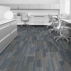 Interface carpet tile: Driftwood Color: Linden 104856 Installation method: Ashlar                Room scene: Open Office