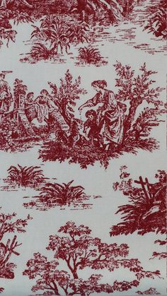4 yards of red and white home interior fabric by JuniperLaneAZ