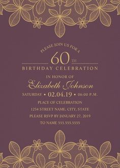 Golden Lace 60th Birthday Invitations – Elegant Luxury Cards. Unique luxury birthday party invitations. Feature a beautiful rustic golden (effect) and a unique stylish typography on a wine red background (you can change background color). A creative invitation perfect for rustic country themed, or other birthday celebrations. This elegant birthday party invitation is fully customized. Just add your birthday party details (including age). More at http://superdazzle.com