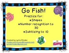 Go Fish Workstation FREEBIE  I created this super fun math workstation game to review numbers, shapes, and to practice subitizing to 10.  I hope you enjoy it!