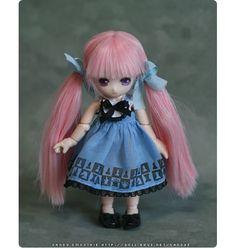 Blue illust dress for Tiny BJD -Puki Puki, Lati White, Obitsu11