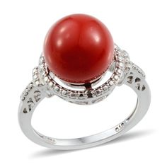 Swarovski Red Pearl Ring - DH Mobile Style