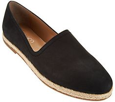 16642df1ef Franco Sarto Leather Slip-ons with Espadrille Trim - Ironic