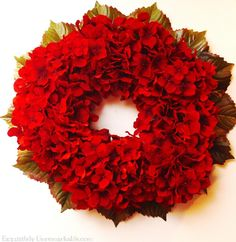 Red Hydrangea Christmas Wreath/ beginner / FREE instructions / gorgeous!